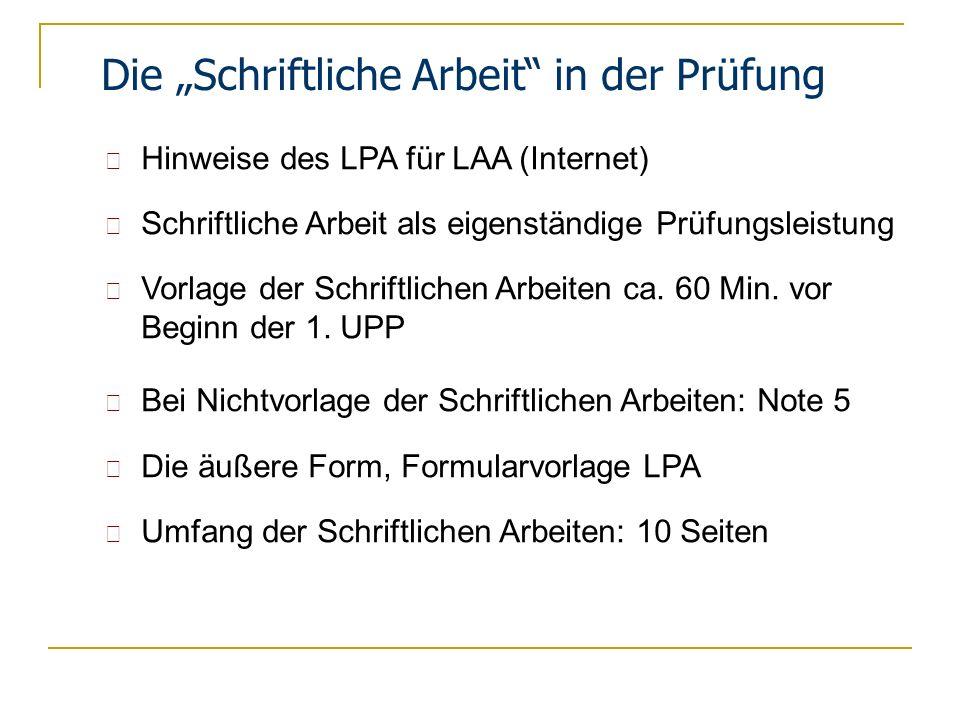"""Die """"Schriftliche Arbeit in der Prüfung"""