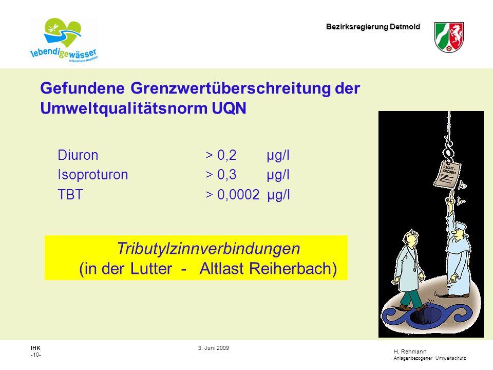 Gefundene Grenzwertüberschreitung der Umweltqualitätsnorm UQN