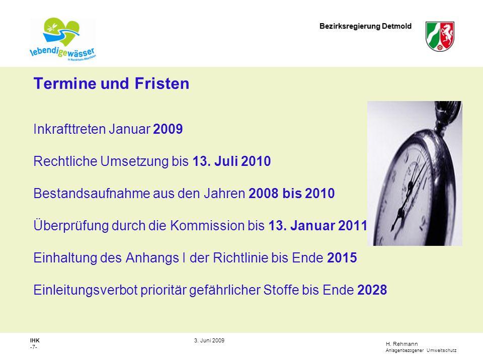 Termine und Fristen Inkrafttreten Januar 2009