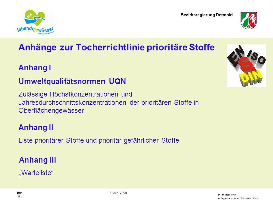 Anhänge zur Tocherrichtlinie prioritäre Stoffe