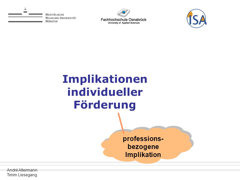 Implikationen individueller Förderung professions-bezogene Implikation
