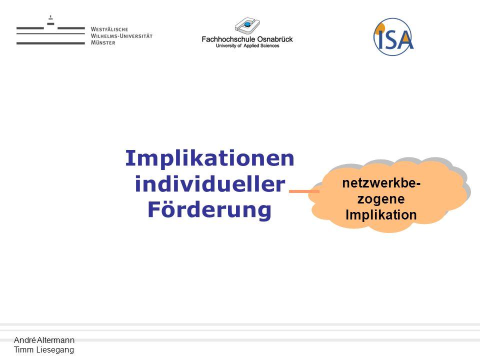 Implikationen individueller Förderung netzwerkbe-zogene Implikation