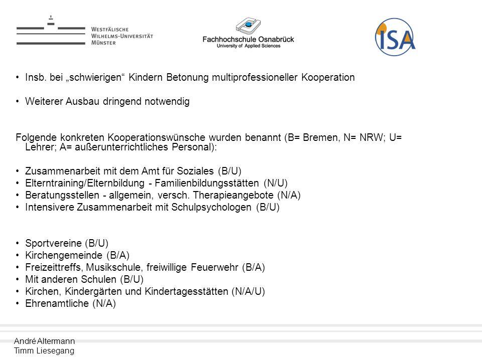 """Insb. bei """"schwierigen Kindern Betonung multiprofessioneller Kooperation"""