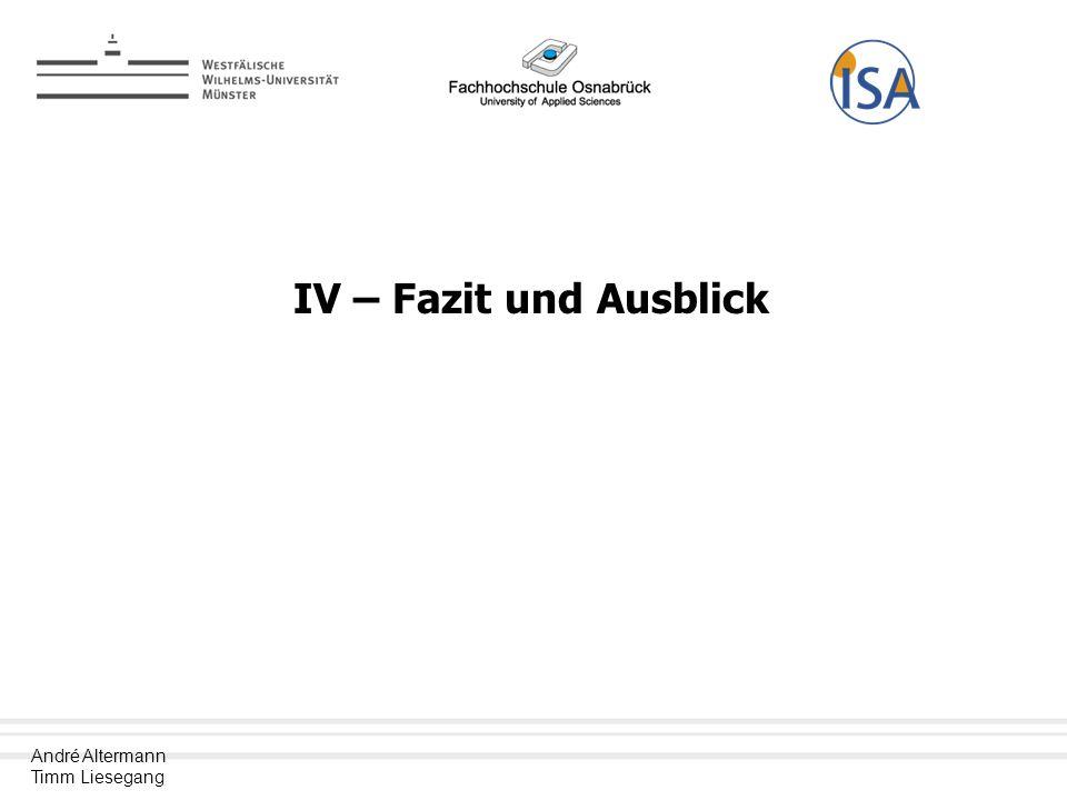 IV – Fazit und Ausblick