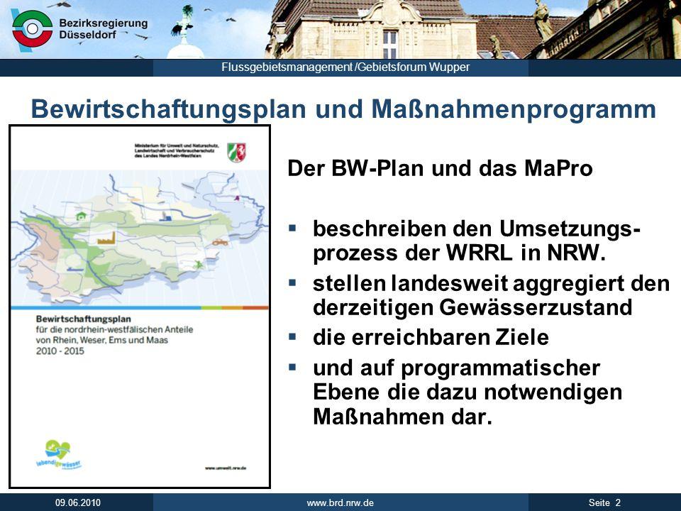 Bewirtschaftungsplan und Maßnahmenprogramm