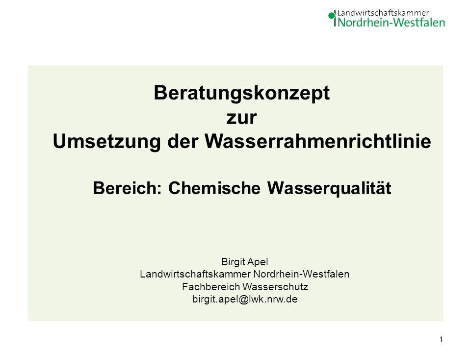 Beratungskonzept zur Umsetzung der Wasserrahmenrichtlinie Bereich: Chemische Wasserqualität