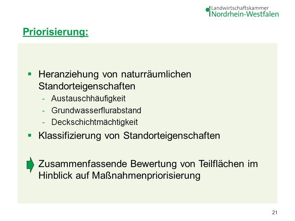 Priorisierung: Heranziehung von naturräumlichen Standorteigenschaften