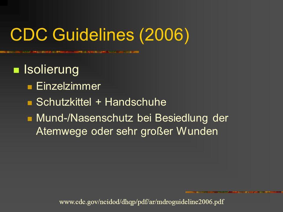 CDC Guidelines (2006) Isolierung Einzelzimmer