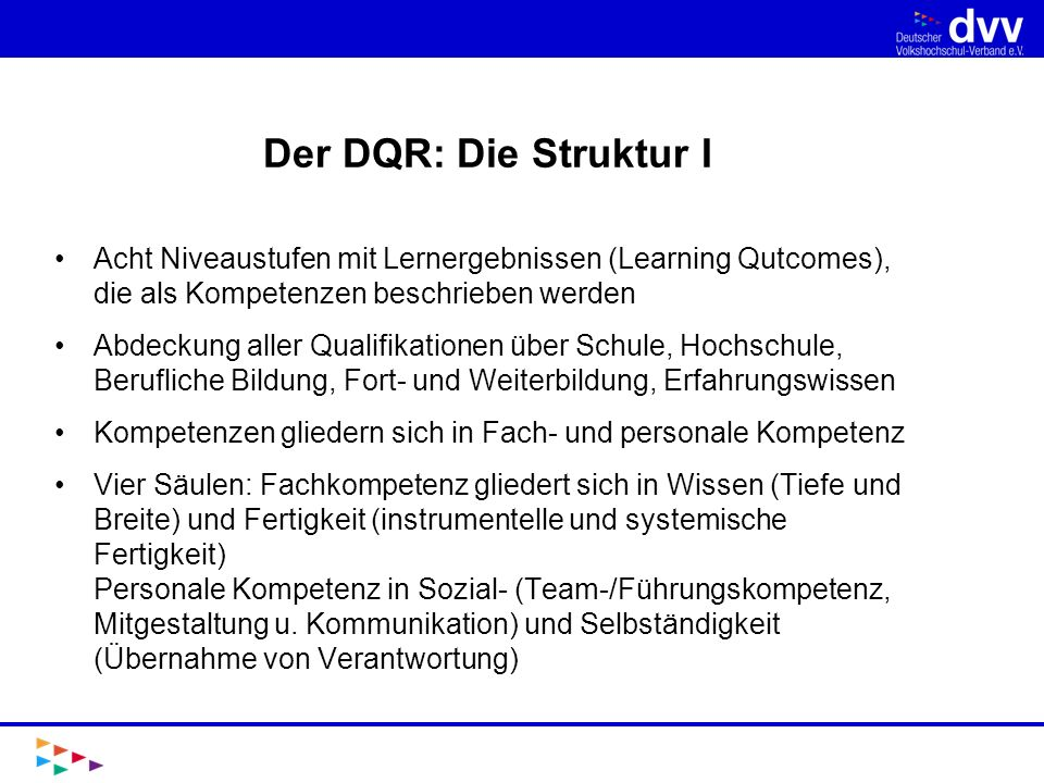 Der DQR: Die Struktur I Acht Niveaustufen mit Lernergebnissen (Learning Qutcomes), die als Kompetenzen beschrieben werden.