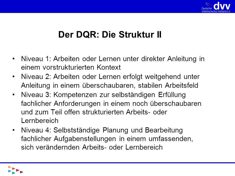 Der DQR: Die Struktur II