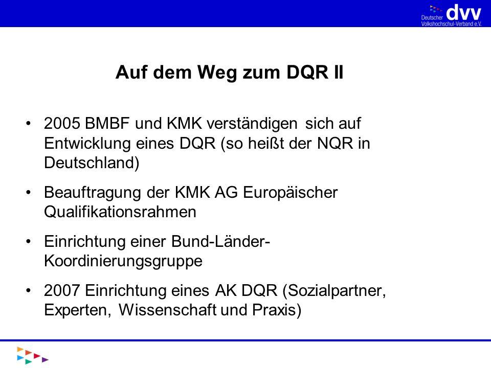 Auf dem Weg zum DQR II 2005 BMBF und KMK verständigen sich auf Entwicklung eines DQR (so heißt der NQR in Deutschland)
