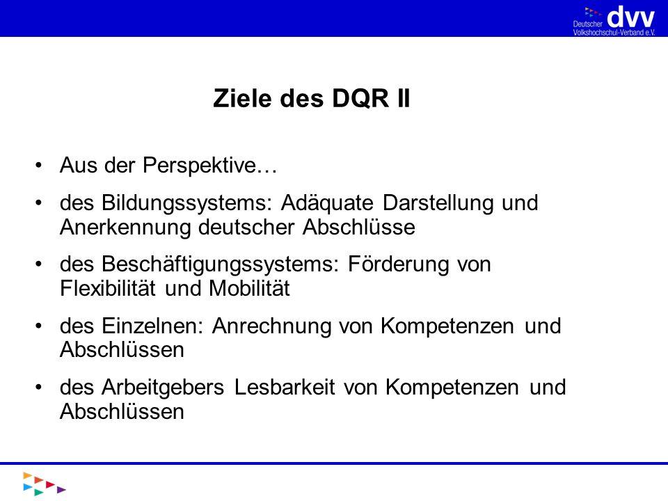 Ziele des DQR II Aus der Perspektive…