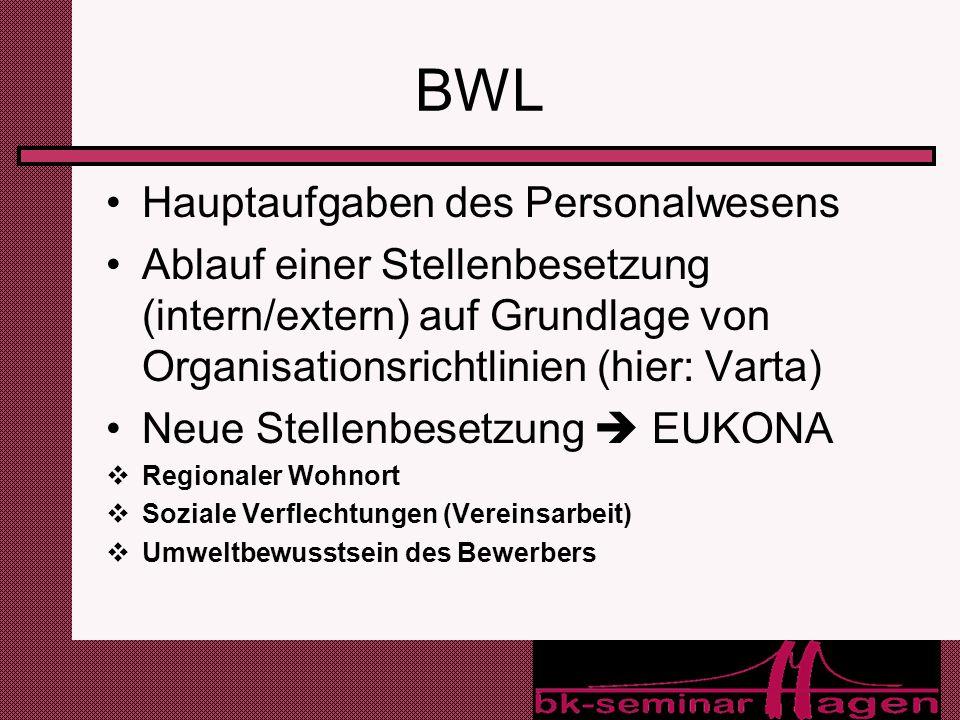 BWL Hauptaufgaben des Personalwesens