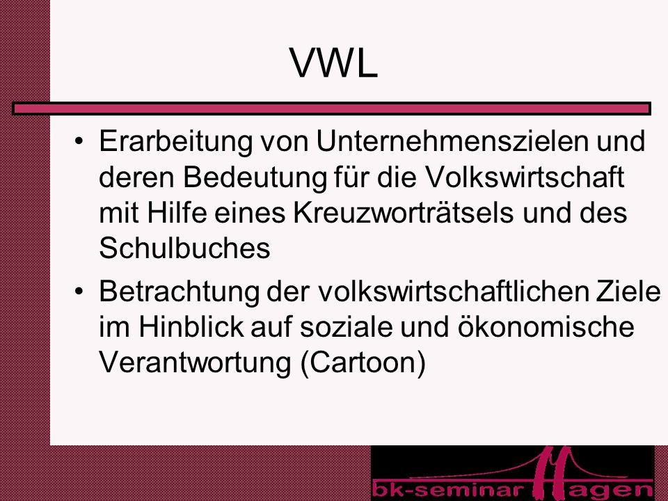 VWL Erarbeitung von Unternehmenszielen und deren Bedeutung für die Volkswirtschaft mit Hilfe eines Kreuzworträtsels und des Schulbuches.