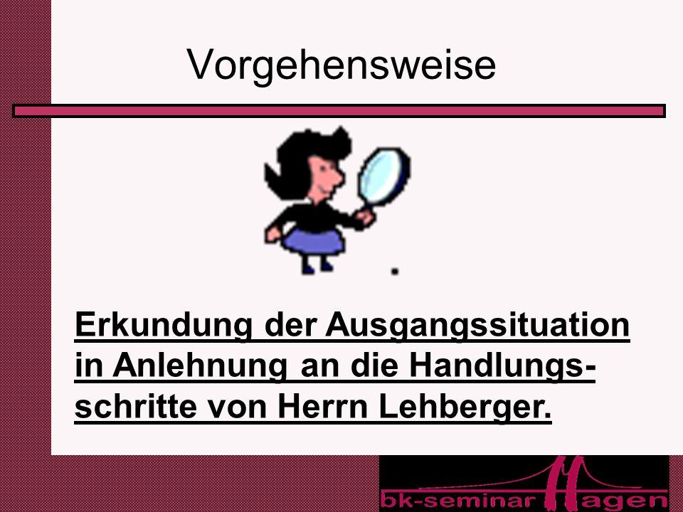 Vorgehensweise Erkundung der Ausgangssituation in Anlehnung an die Handlungs-schritte von Herrn Lehberger.