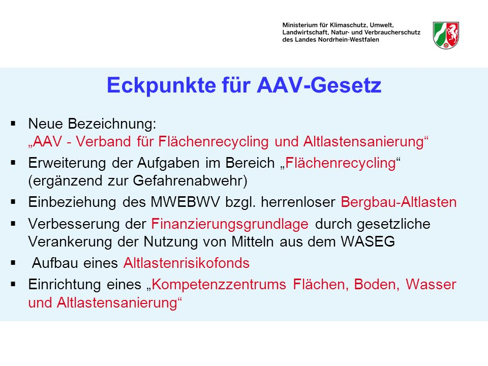 Eckpunkte für AAV-Gesetz