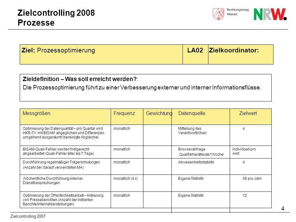 Zielcontrolling 2008 Prozesse