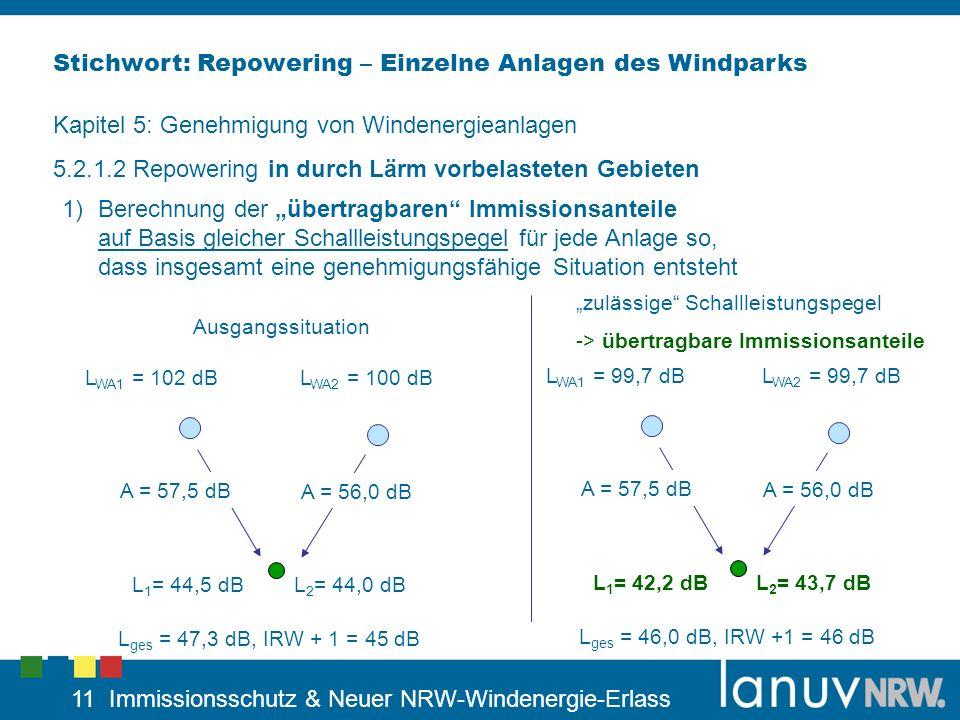 Stichwort: Repowering – Einzelne Anlagen des Windparks