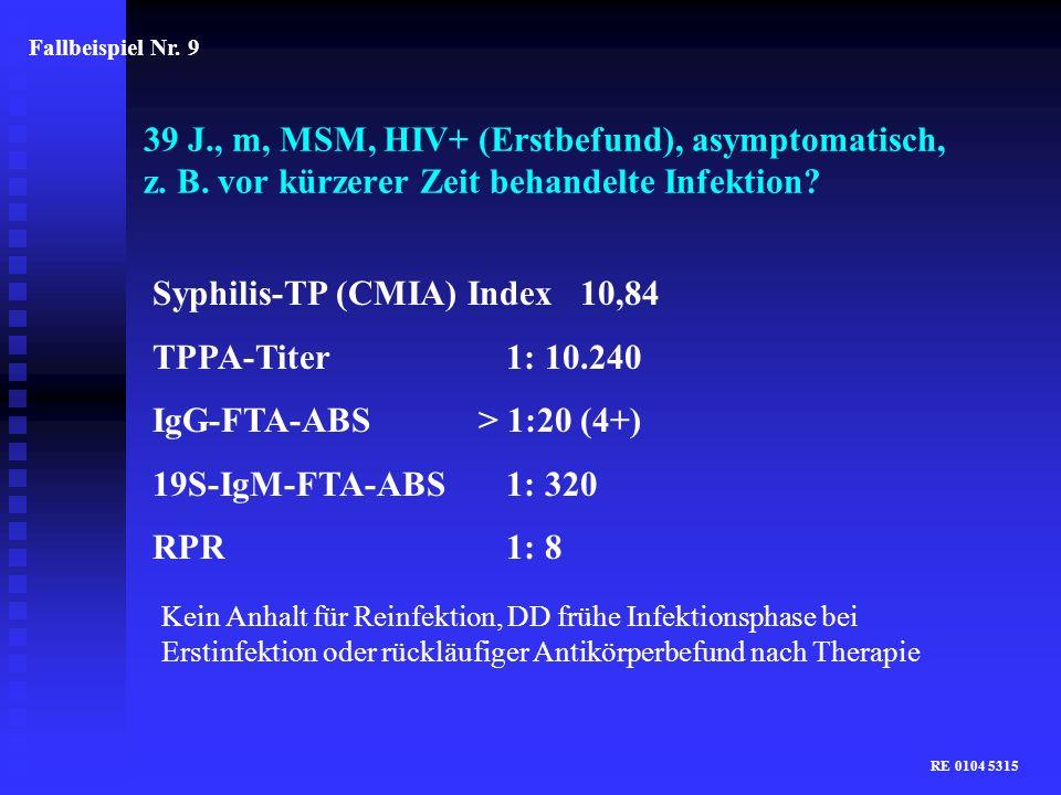 Syphilis-TP (CMIA) Index 10,84 TPPA-Titer 1: 10.240