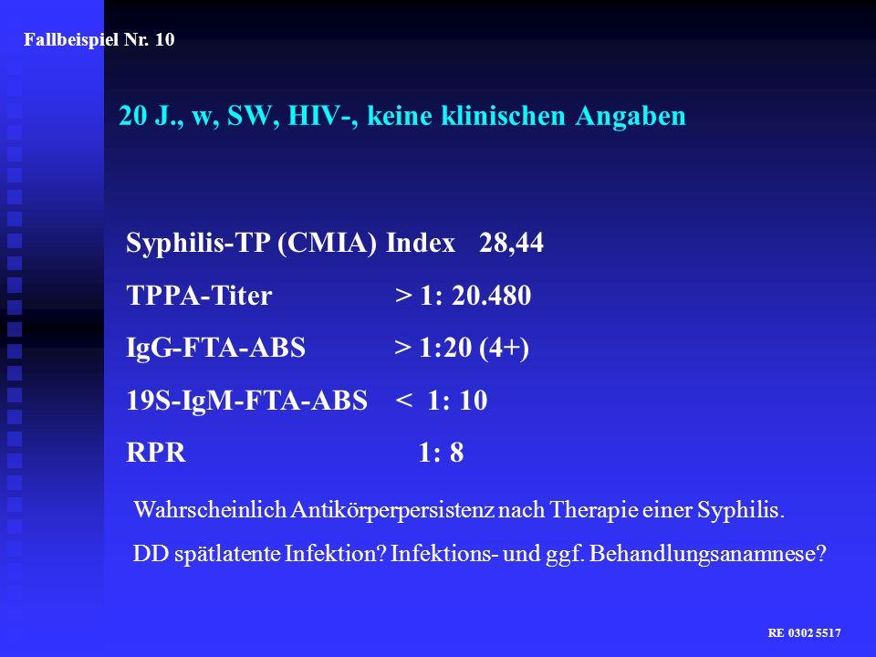 20 J., w, SW, HIV-, keine klinischen Angaben