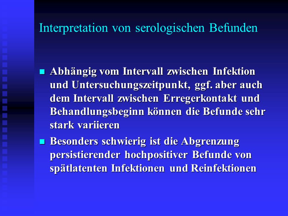 Interpretation von serologischen Befunden