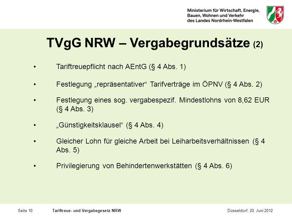 TVgG NRW – Vergabegrundsätze (2)