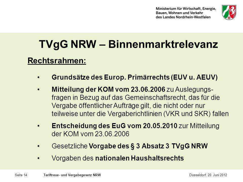 TVgG NRW – Binnenmarktrelevanz