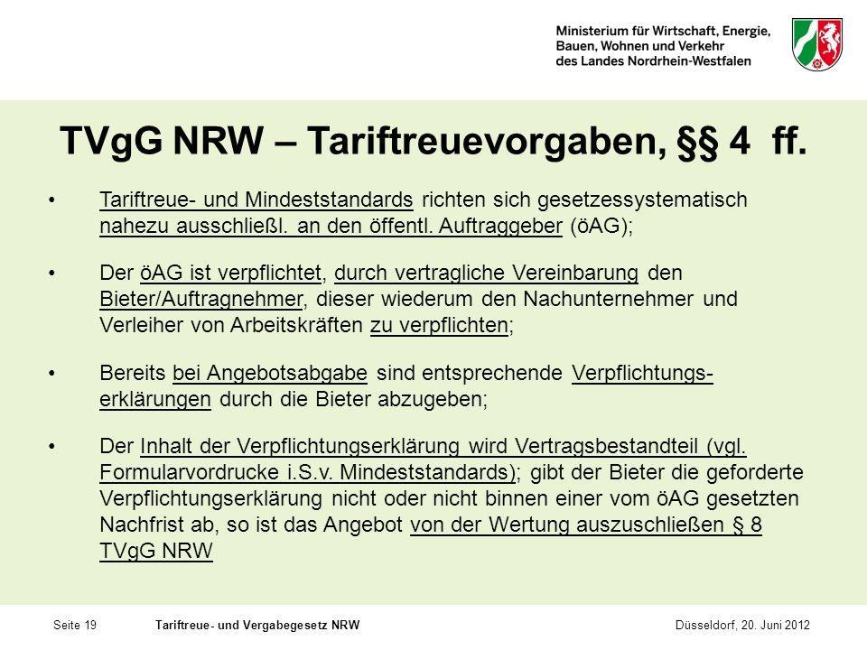 TVgG NRW – Tariftreuevorgaben, §§ 4 ff.