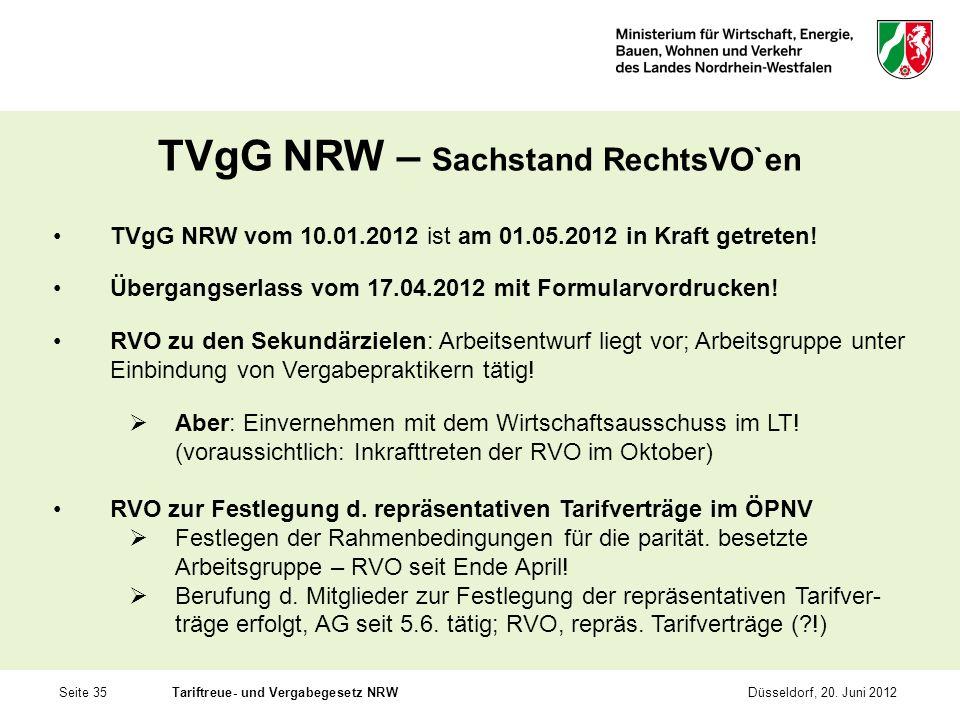 TVgG NRW – Sachstand RechtsVO`en