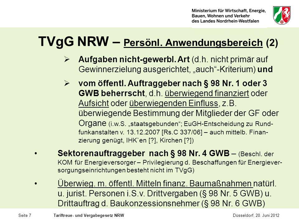 TVgG NRW – Persönl. Anwendungsbereich (2)