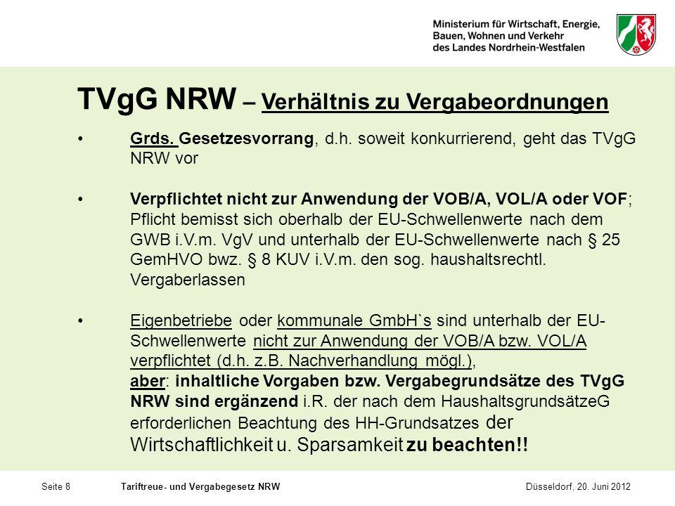 TVgG NRW – Verhältnis zu Vergabeordnungen