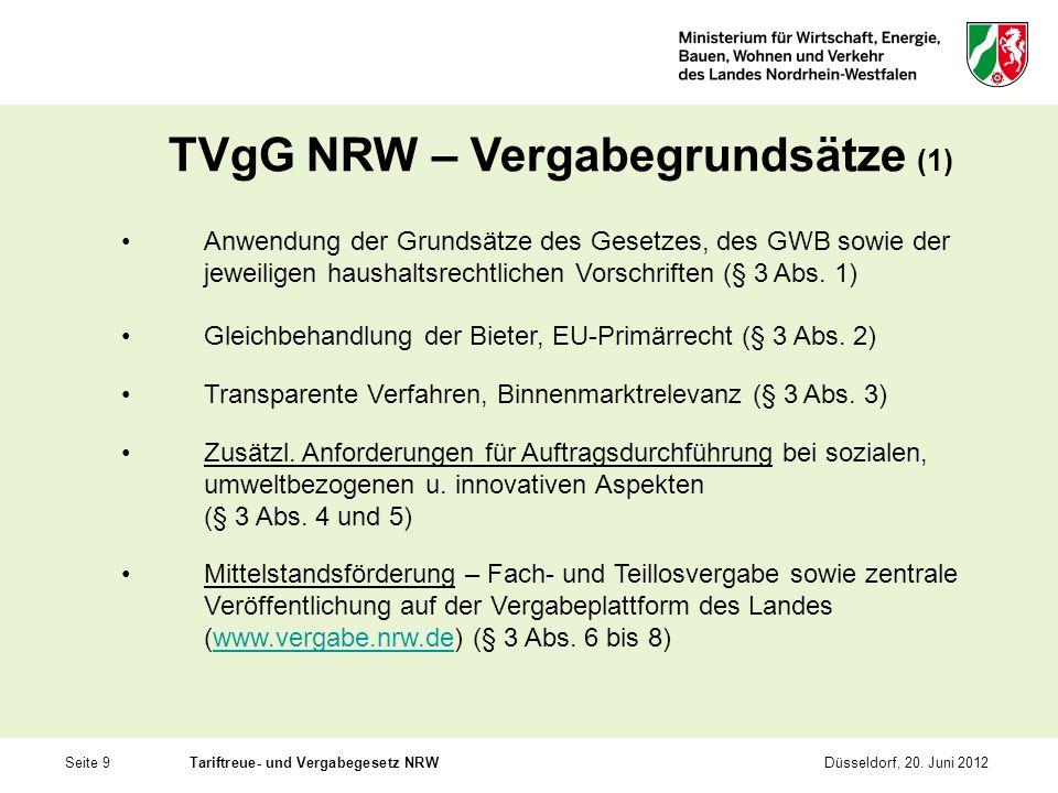 TVgG NRW – Vergabegrundsätze (1)