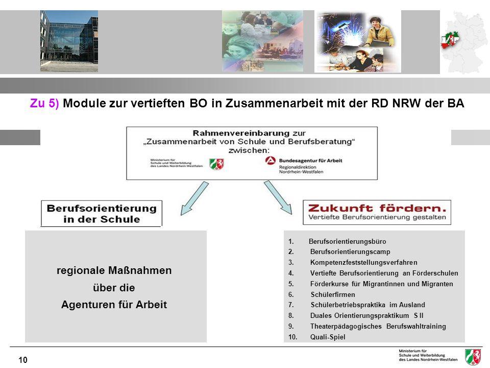 Zu 5) Module zur vertieften BO in Zusammenarbeit mit der RD NRW der BA