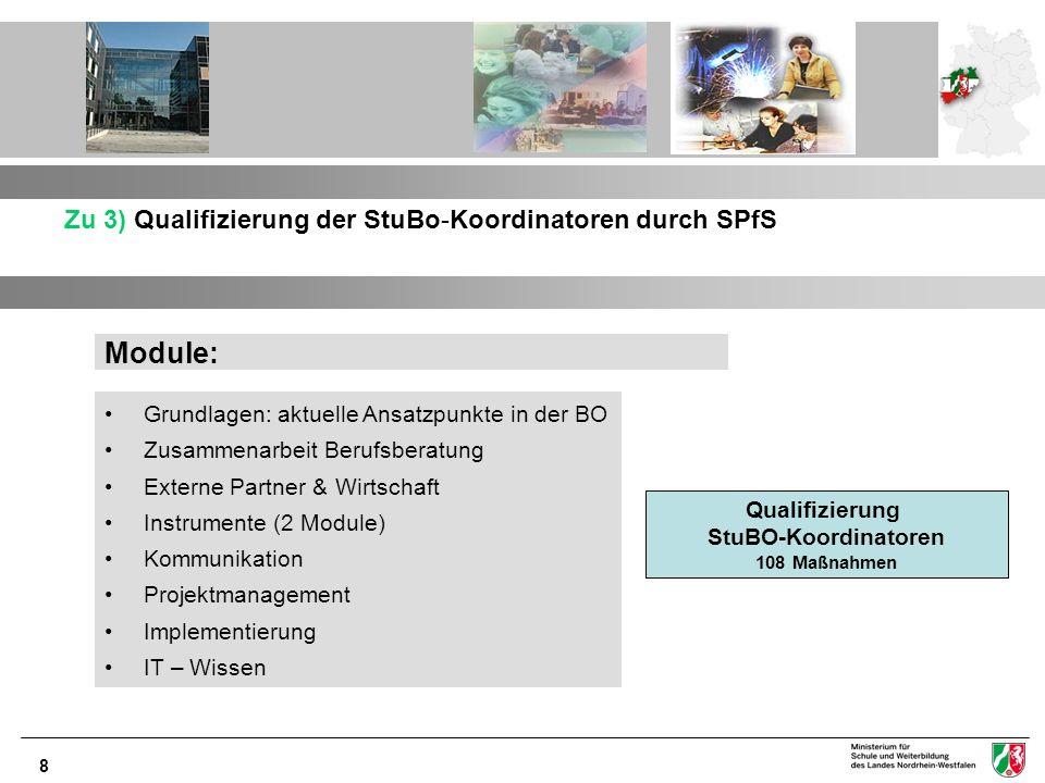 Module: Zu 3) Qualifizierung der StuBo-Koordinatoren durch SPfS