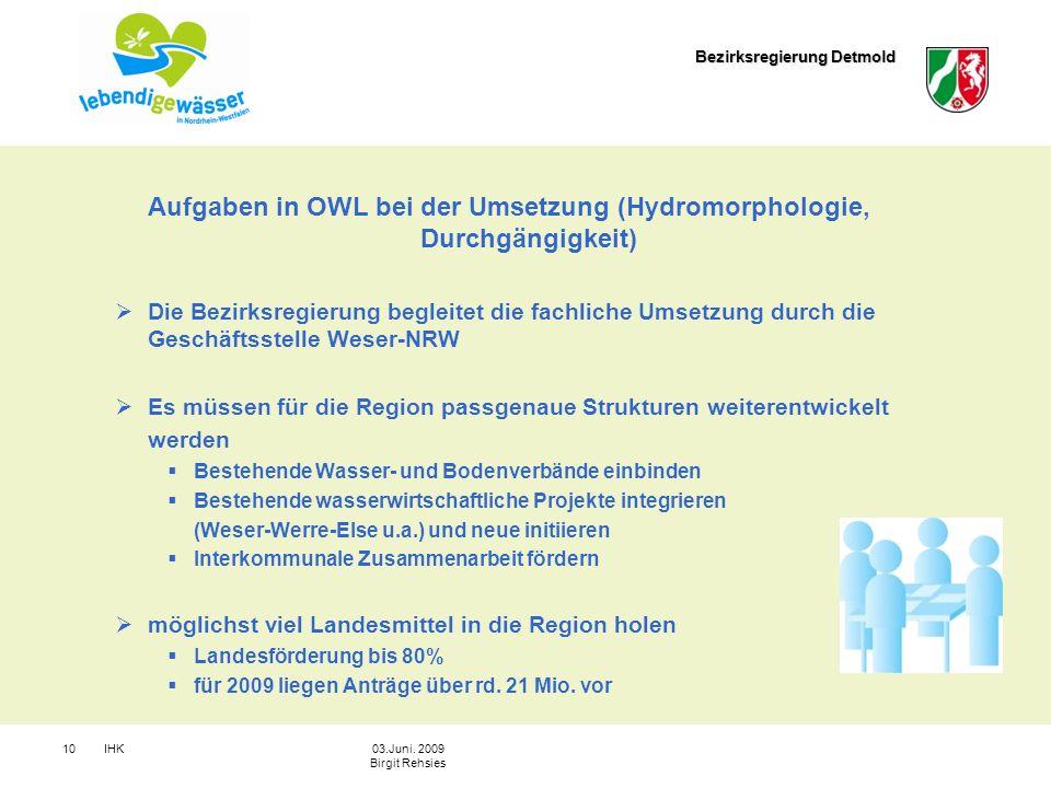 Aufgaben in OWL bei der Umsetzung (Hydromorphologie, Durchgängigkeit)