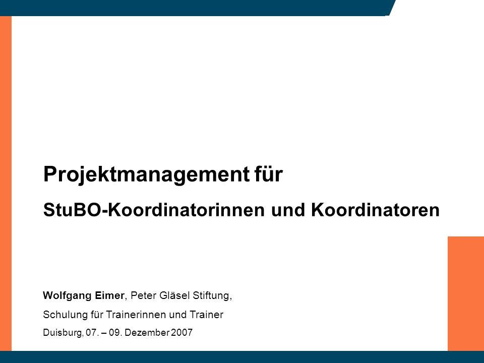 Projektmanagement für StuBO-Koordinatorinnen und Koordinatoren