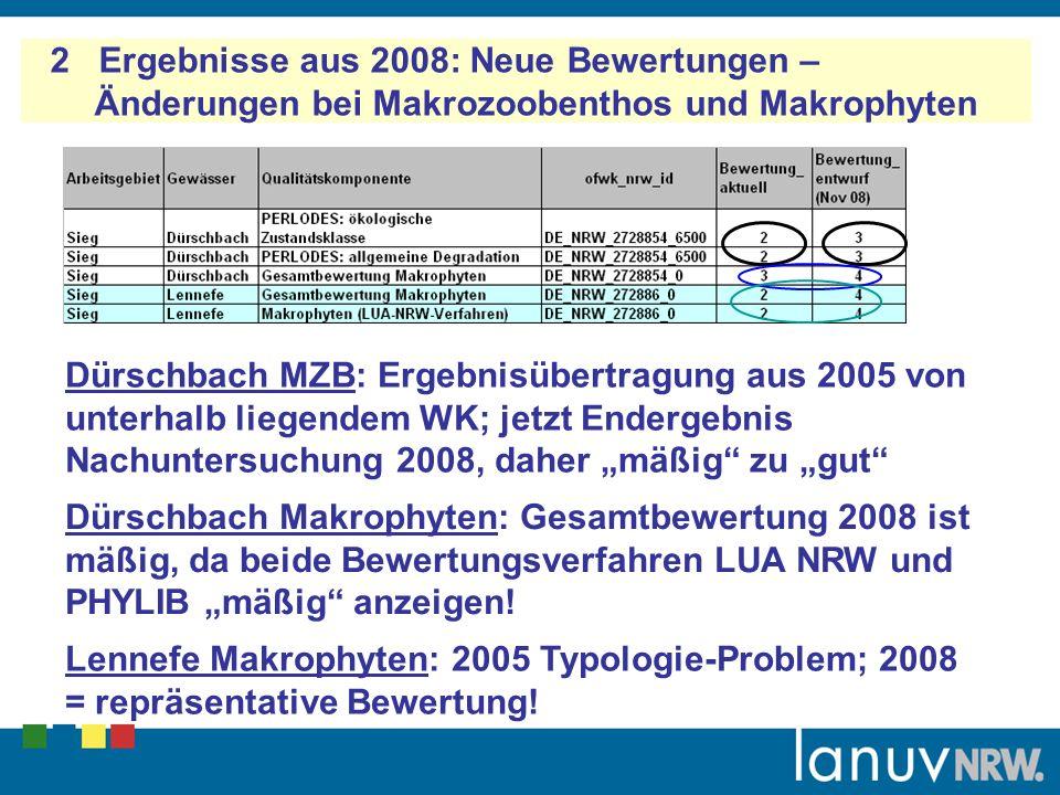 2 Ergebnisse aus 2008: Neue Bewertungen – Änderungen bei Makrozoobenthos und Makrophyten