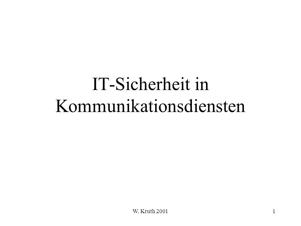 IT-Sicherheit in Kommunikationsdiensten