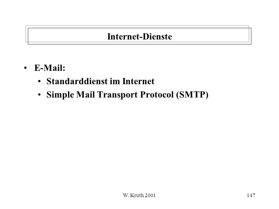 Standarddienst im Internet Simple Mail Transport Protocol (SMTP)