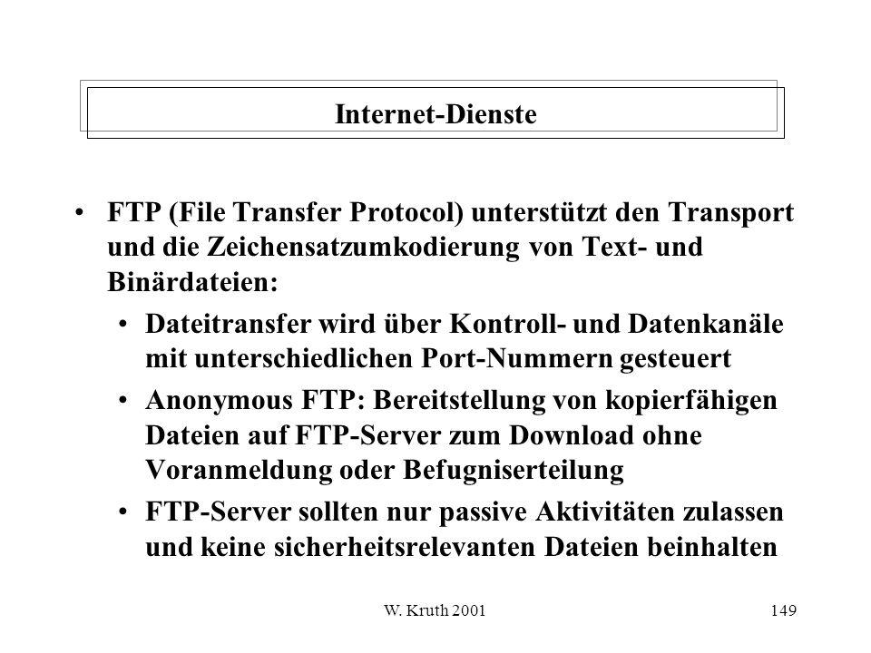 Internet-Dienste FTP (File Transfer Protocol) unterstützt den Transport und die Zeichensatzumkodierung von Text- und Binärdateien: