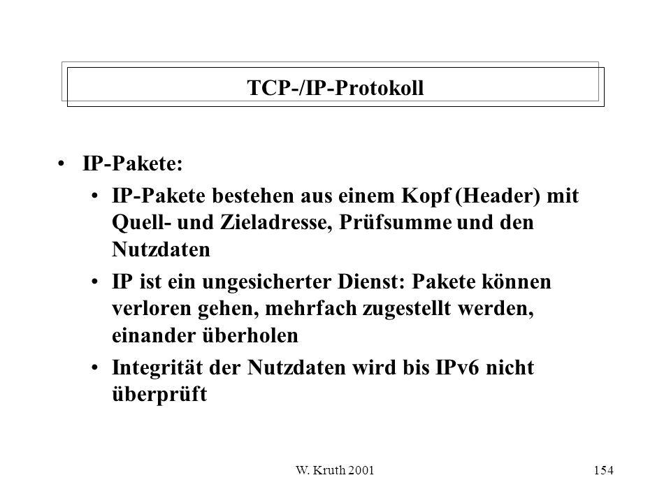 Integrität der Nutzdaten wird bis IPv6 nicht überprüft