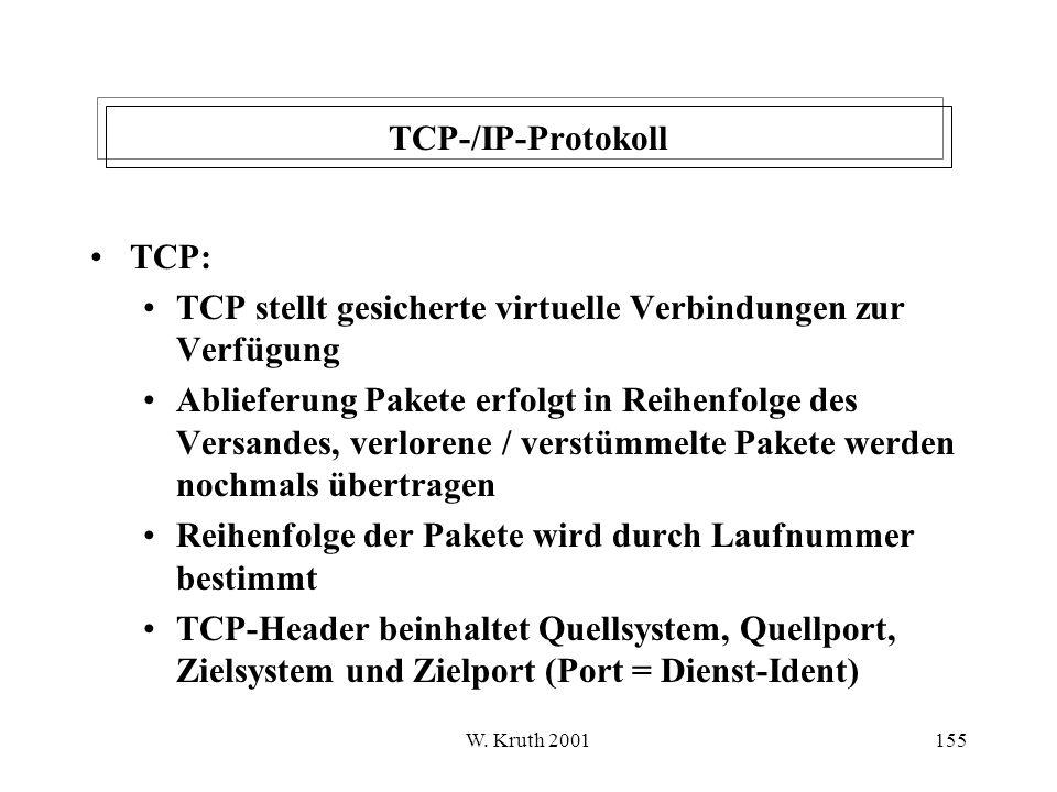 TCP stellt gesicherte virtuelle Verbindungen zur Verfügung
