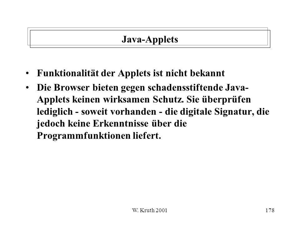 Funktionalität der Applets ist nicht bekannt