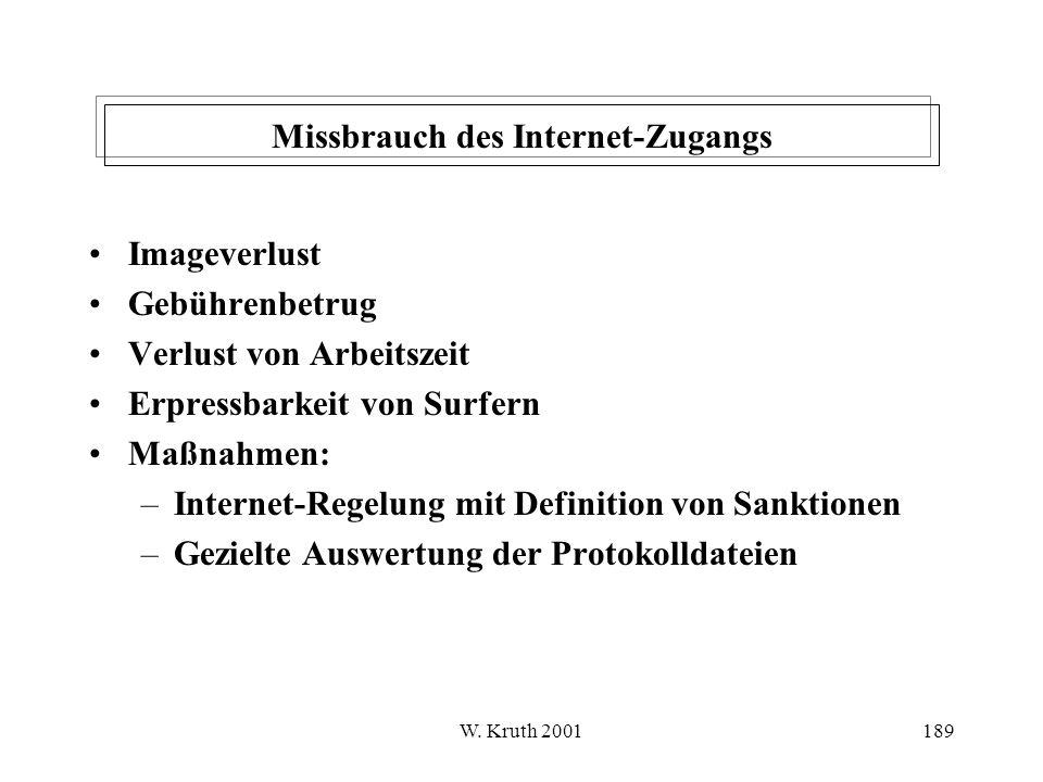Missbrauch des Internet-Zugangs