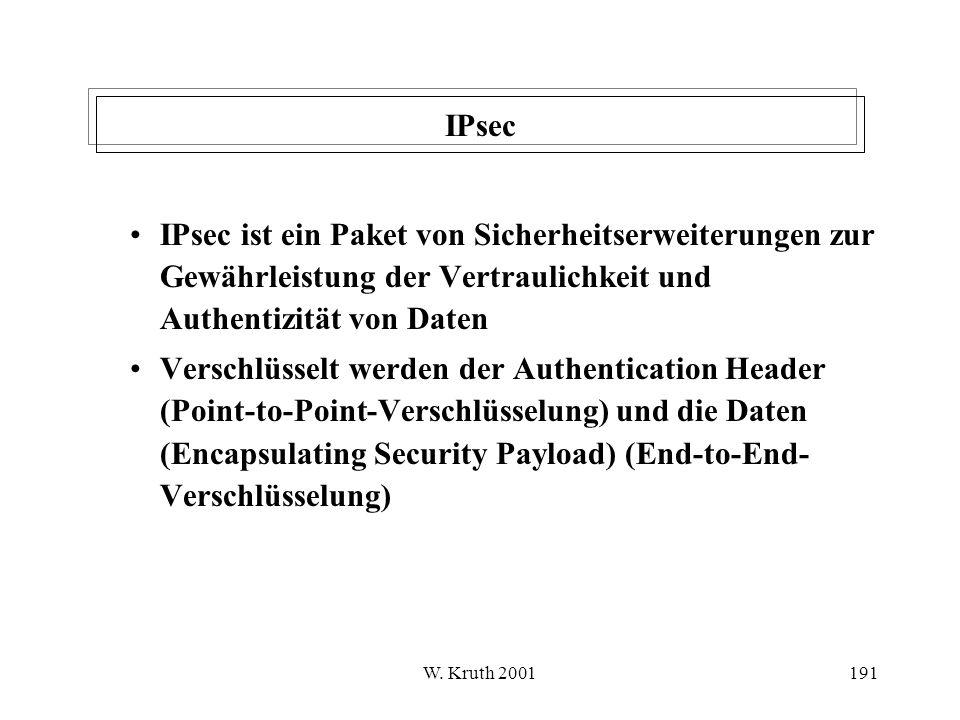 IPsec IPsec ist ein Paket von Sicherheitserweiterungen zur Gewährleistung der Vertraulichkeit und Authentizität von Daten.