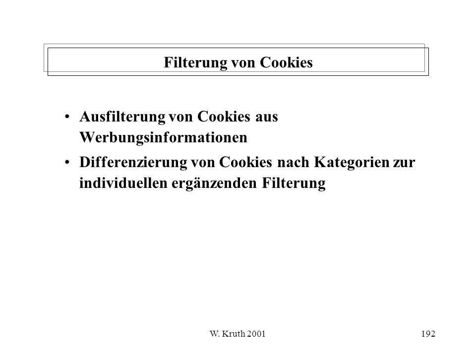 Ausfilterung von Cookies aus Werbungsinformationen