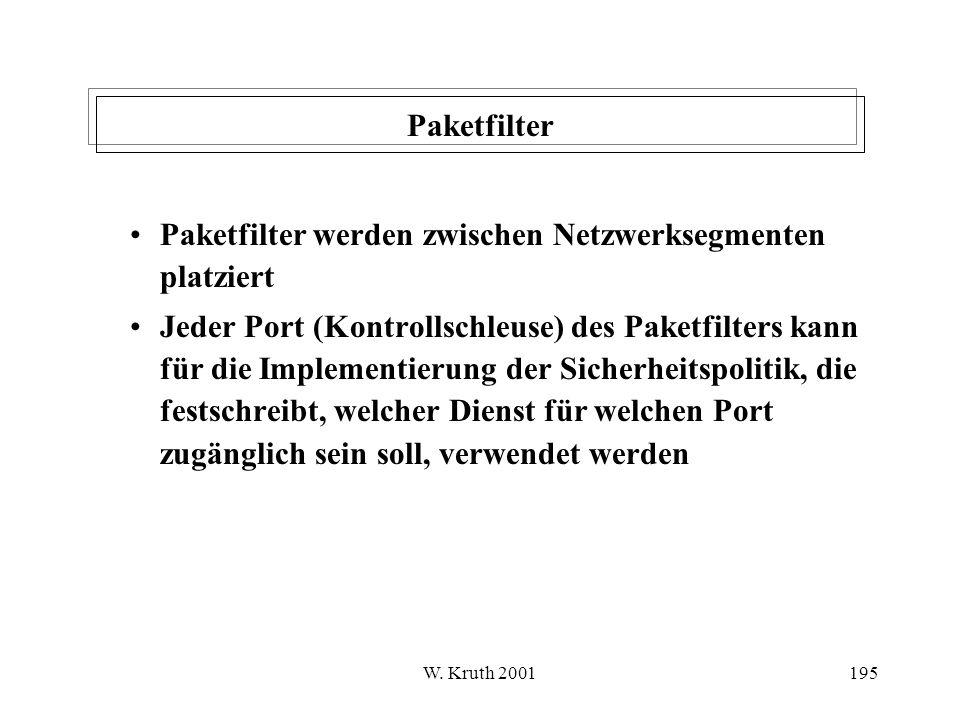 Paketfilter werden zwischen Netzwerksegmenten platziert