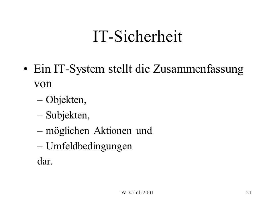 IT-Sicherheit Ein IT-System stellt die Zusammenfassung von Objekten,