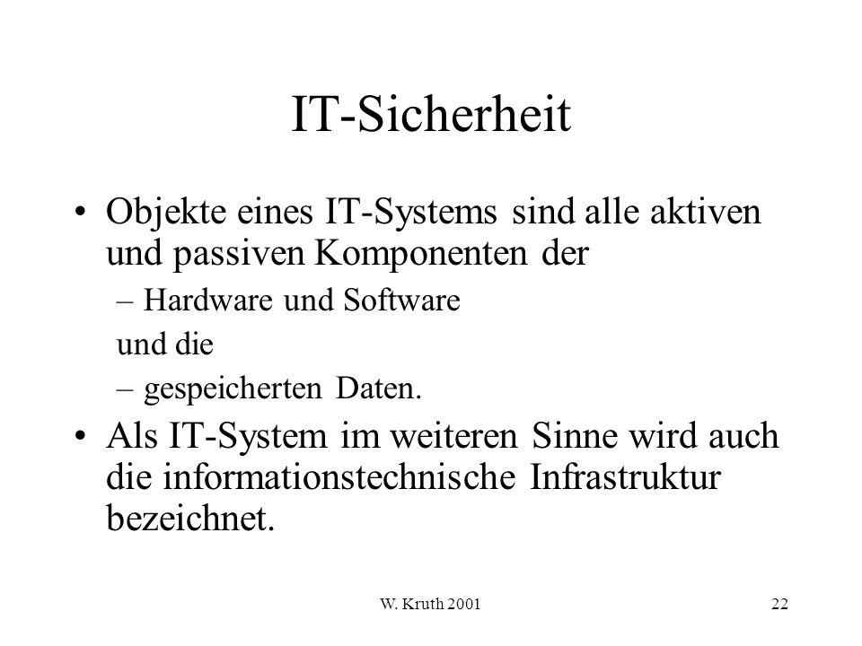 IT-Sicherheit Objekte eines IT-Systems sind alle aktiven und passiven Komponenten der. Hardware und Software.