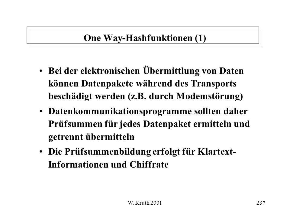 One Way-Hashfunktionen (1)